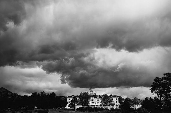 Ominous clouds over the haunted, historic Stanley Hotel