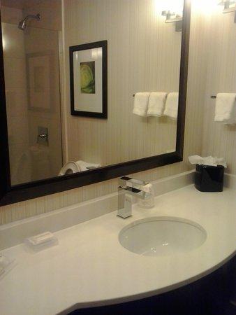 Hilton Garden Inn New York/Manhattan-Midtown East: amplio mueble de baño y espejo