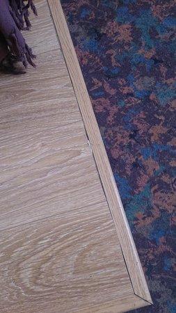 Hotel La Folie: la délimitation des lits simple entre moquette et parquet