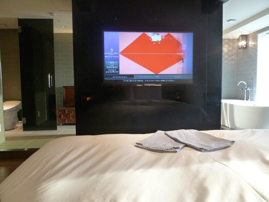 Shinjuku Granbell Hotel : From bed to bathroom, via the TV