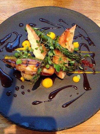 Gravy Boesti: Chicken Breast, Asparagus, Shallots, Bacon Crisp and Carrot Purée