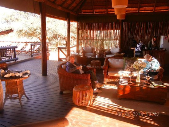 nThambo Tree Camp : Me in the main living area/reception area. Jacuzzi off to left on deck