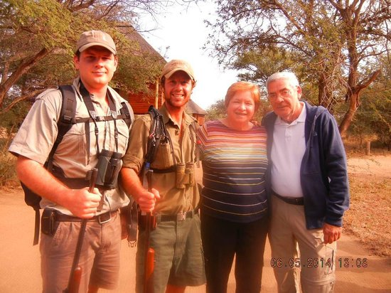 nThambo Tree Camp : Readying for our walk with Mike and Dewald and rifles...warm day by 10:30A