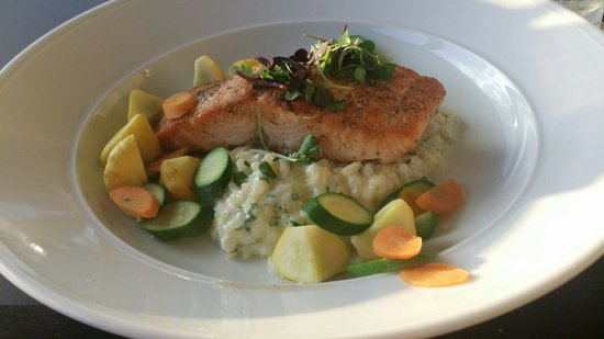 The Eagle's Nest Restaurant: The Salmon & Lemon Risotto with Garden Fresh Vegetables.
