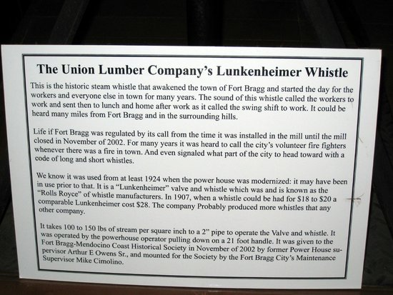 Lukenheimer Steam Whistle info, Guest House Museum