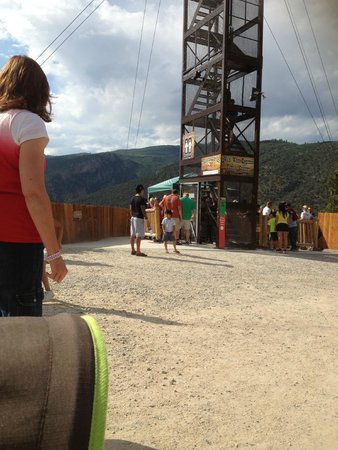 Glenwood Caverns Adventure Park: waiting for zipline