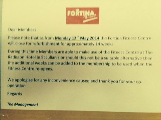 Hotel Fortina: Notification of Gym closure