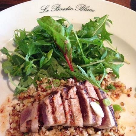 Le Boudin Blanc: pan seared tuna on quinoa