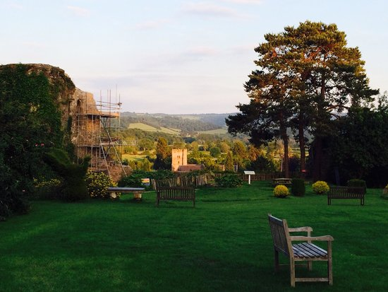 Usk Castle: Delightful views over the Usk Valley at sunset