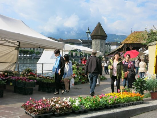 Hotel des Alpes: A view of the Chapel Bridge and a morning flower mart by the river.
