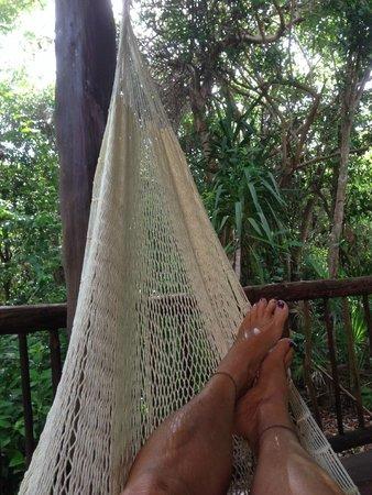 Bel Air Collection Xpu Ha Riviera Maya: Enjoying the hammock on the deck