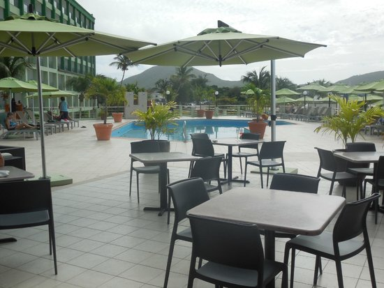 Great Bay Beach Resort, Casino & Spa: View of upper deck pool from dining buffet area