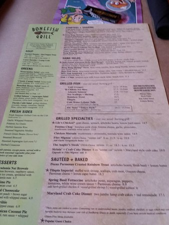 Bonefish Grill: Menu