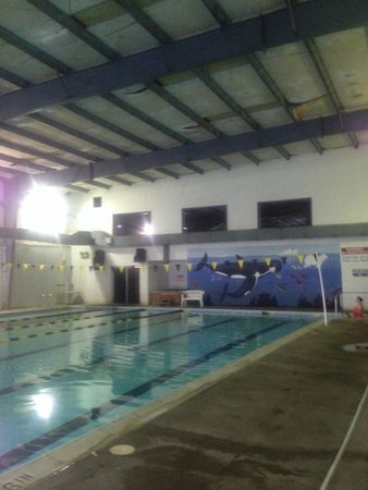 Ramada Strasburg: Sketchy, nasty indoor pool. Note the ceiling of this decrepit warehouse...