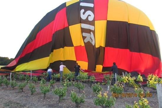 Ballon Plaisir : balloon in vineyard...oops