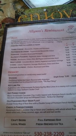 Allyson's Restaurant : Side two of lunch menu.