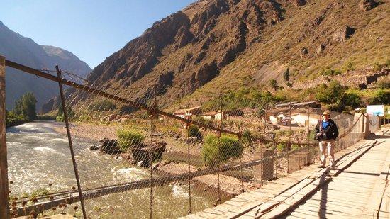 Inca Bridge in Ollantaytambo, NOT in Machu Picchu! This is the first/main bridge we saw.