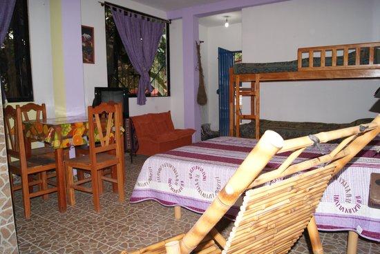 Chulumani, Bolivia: Illimani departamento con mini cocina, baño, tv