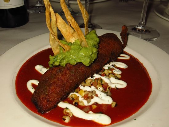 Lahaina Grill: blue corn crusted chile relleno; filled with tiger prawns, diver scallops, monterey jack cheese
