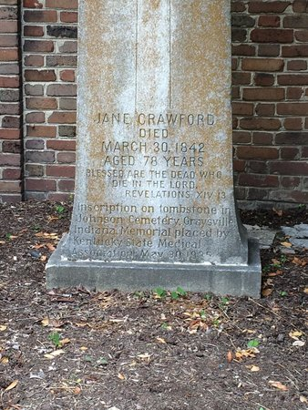 McDowell House Museum: Marker for Jane Todd Crawford in her memory