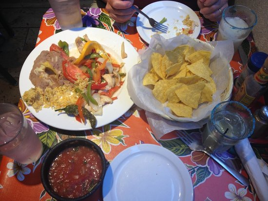 Miguel's Baja Grill: Chicken fajitas, chips and salsa, and margaritas!