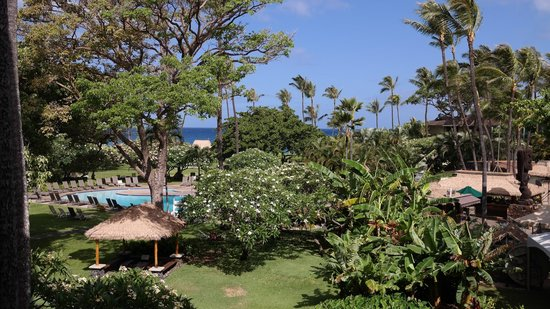 Kaanapali Beach Hotel: View from balcony onto gardens, pool and ocean