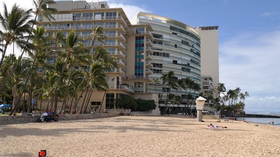 The New Otani Kaimana Beach Hotel: New Otani (on the left), from the adjacent Waikiki Beach