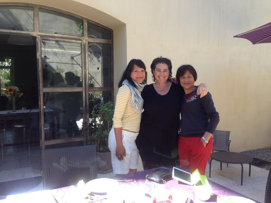 La Campagne: my family with hostess, Marion in backyard on last breakfast