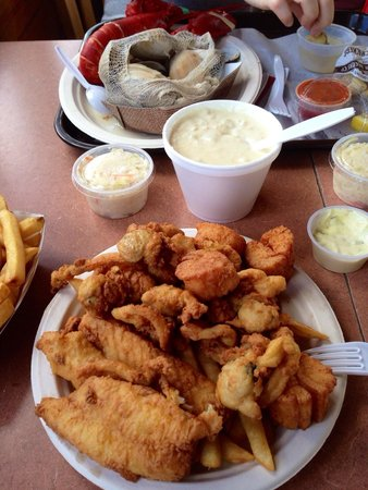 "Wood's Seafood: Fisherman's platter for one - it's big. They also have a platter ""for two"" which is HUGE!!!"