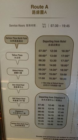 Harbour Plaza North Point : Taikoo Shuttle Bus provided by hotel
