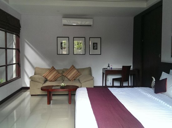 The Wolas Villas & Spa: Couch, study table and a huge wardrobe aside our bed