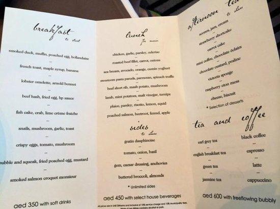 Menu picture of table 9 dubai tripadvisor for Table restaurant menu