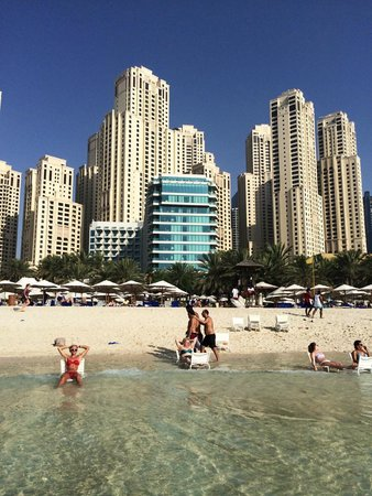 Hilton Dubai Jumeirah Beach: From the beach looking towards the hotel