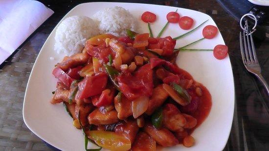 Hotel Edem: riso,bocconcini di pollo e caponata