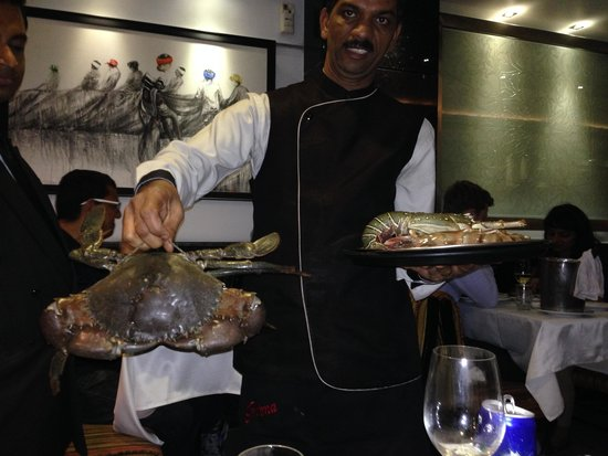 Trishna : Live Crabs for display !!! Select one and then have tandoori crab