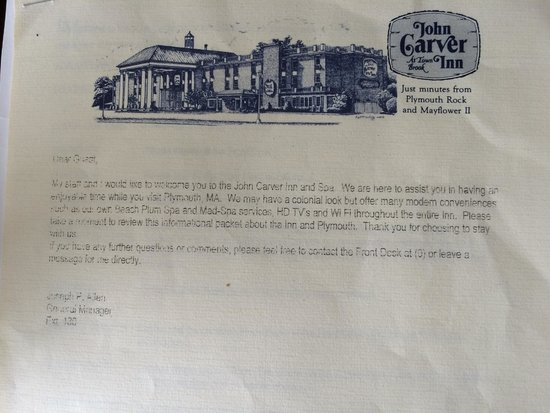 John Carver Inn & Spa: welcome letter - can you read this? When was the last time this was updated?