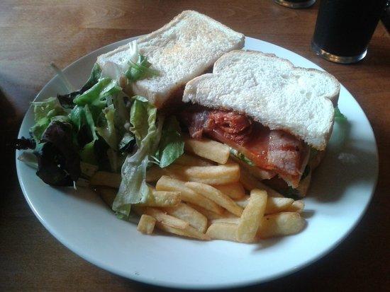 The Ram Inn: Chicken, Chorizo & Bacon Club Sandwich with Chips