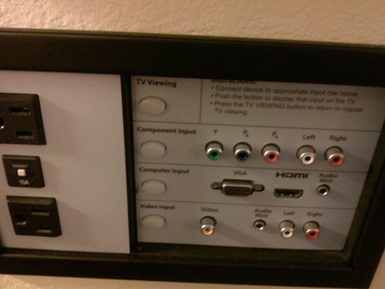 Hyatt Place West Palm Beach Downtown: ports for the t.v, including HDMI
