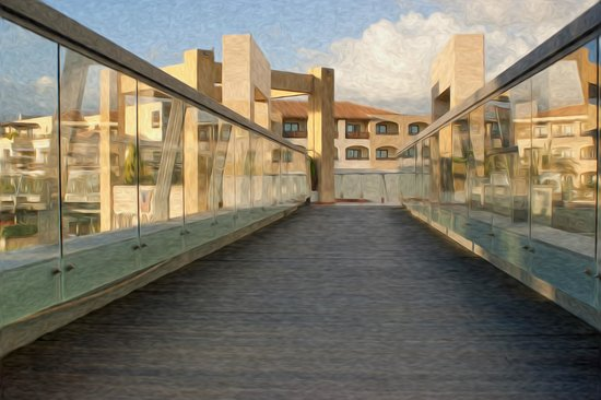 Minoa Palace Resort: The walkway over the main road (with the mountain-side complex in background)