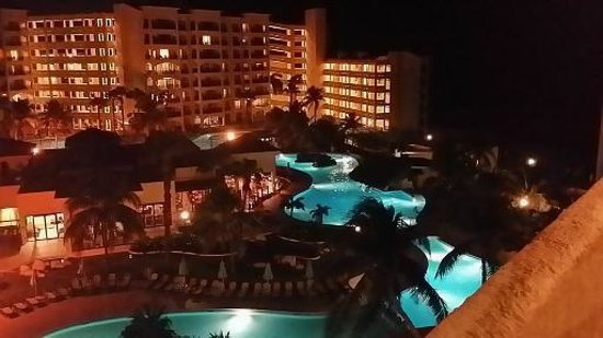 The Royal Caribbean: View from Balcony overlooking pool at night