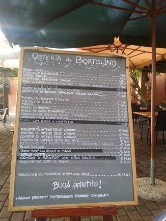 Viadana, Italie : La lavagna del Menu