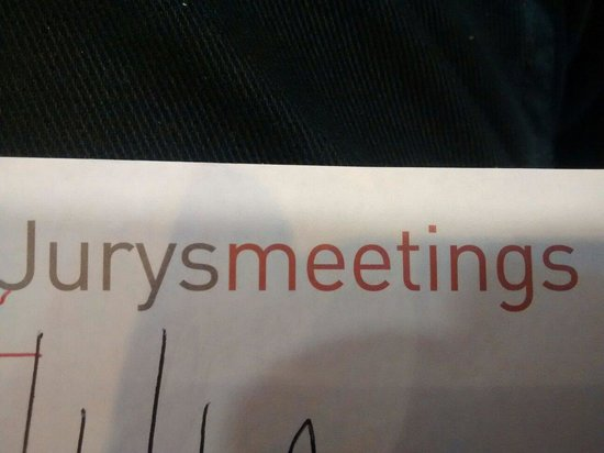 Jurys Inn Birmingham : Jury's meetings.