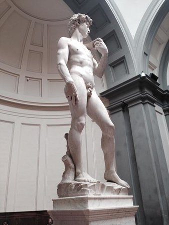 Galleria dell'Accademia : david--right larger than left, symbolizing hand of God