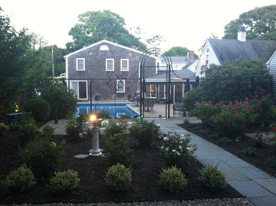 The Platinum Pebble Boutique Inn: View of the backyard/pool