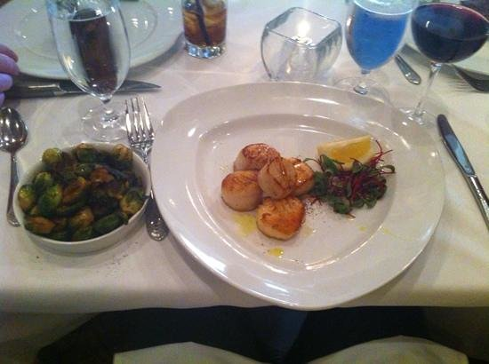 Davio's: Seared scallops with grilled brussel sprouts