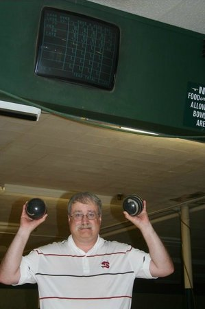 Beverly Bowl-O-Mat: Author with Bowling Balls and Scoring Monitor