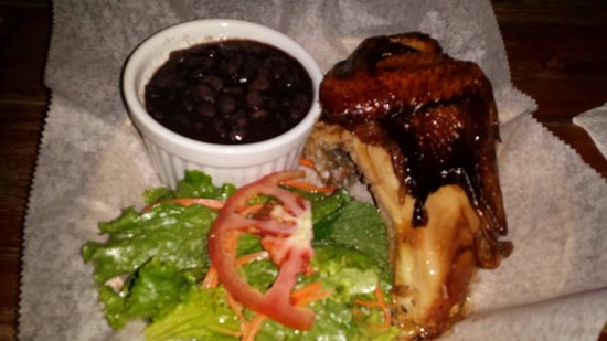 Chicken Joe's: 1/4 chicken with beans and green salad