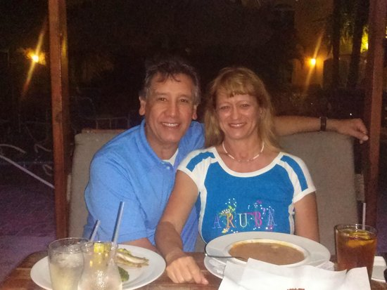 Water's Edge Restaurant & Bar Aruba: Enjoying a nice dinner