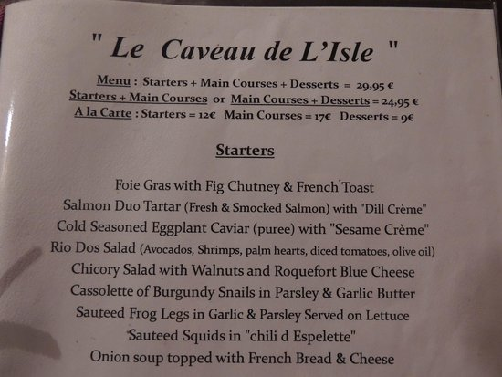 Le Caveau de L'isle : June 2014 Menu: Appetizers & Prices