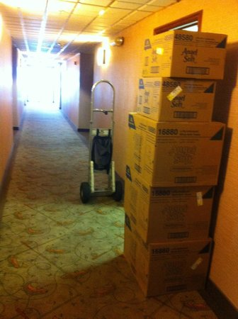 Bishop Creekside Inn : At about 7:30am next to our room, delivery boxes piled up to be stored into the storage room nex
